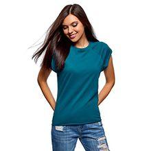 oodji Ultra Damen T-Shirt Basic Aus Baumwolle, Türkis, DE 34/EU 36/XS