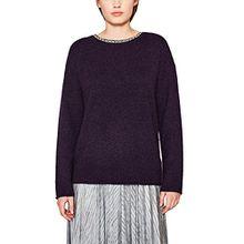 edc by ESPRIT Damen Pullover 117CC1I005, Violett (Dark Purple 500), Small