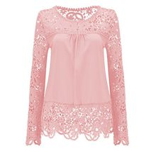 Shinekoo® Damen Langarm Plus Größen Spitze Chiffon Tops Sommer Shirt Bluse