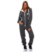 Hoppe Damen Jumpsuit Jogger Einteiler Jogging Anzug Trainingsanzug Overall (L, Grau)