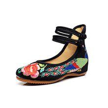 Minetom Damen Elegant Doppel-BGEL Ethnische Bestickte Schuhe Tanzschuhe Niedrigem Keil Ballerina Mary Jane Blumen Flache Schwarz EU 39