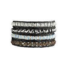 Rafaela Donata Lederarmband Armband Echtleder schwarz Glaskristall klar/braun hellblau/silberfarben schwarz Damen