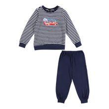 SCHIESSER Schlafanzug navy / mischfarben / weiß