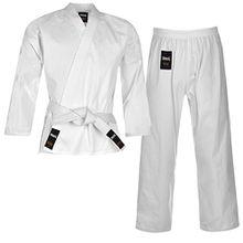 Lonsdale Kinder Karate Anzug Kampfkunst Kampfsport Kimono Karateanzug Baumwolle Weiss 7-8 (120)