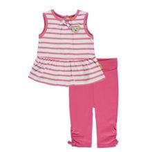STEIFF Tunikashirt und Leggings Set pink / weiß