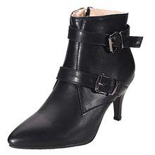 AIYOUMEI Damen Spitz Klassischer Stiefel Stiletto High Heels Stiefeletten mit Schnalle und 7cm Absatz Winter Schuhe