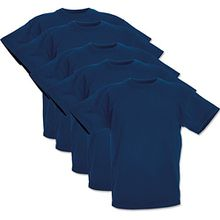 5 Fruit of the loom Kinder T-Shirts Valueweight 104 116 128 140 152 Diverse Farbsets auswählbar 100% Baumwolle (104, Navy)