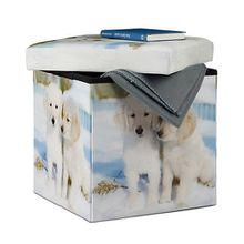 """3 in 1 Sitzhocker mit Aufbewahrungsbox """"Hunde"""" weiß"""