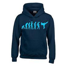 KARATE Evolution Kinder Sweatshirt mit Kapuze HOODIE navy-sky, Gr.128cm
