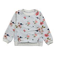 Baby Sweatshirt Odejoy Kinder Pullover Mädchen Floral Sweatshirt Langarm-Pullover Tops Blusen Sweatshirt Langarm Herbst Sweatshirt Pullover Mädchen Sweatshirt Übergangs Pullover (Grau, 110)