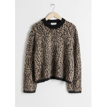 Leopard Knit Sweater - Beige