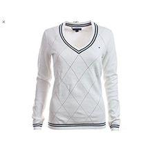 Tommy Hilfiger Damen Pullover, Women's V-Neck Diamond Knit Sweater, X-Large