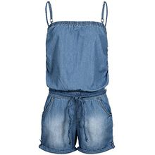 Sublevel Damen Jeans Jumpsuit Overall LSL-270 geflochtener Gürtel Washed-Look kurz middle blue S