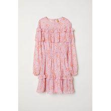 H & M - Chiffonkleid mit Volants - Pink - Damen