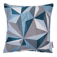 TOM TAILOR T-Shiny Crystal Kissenhülle, Baumwoll-Mischgewebe, Petrol/Grau, 45 x 45 cm