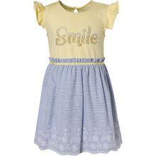 Kinder Jerseykleid mit Strasssteinen und Stickerei gelb Mädchen Kleinkinder