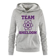 Comedy Shirts - THE BIG BANG THEORY - TEAM SHELDON - Damen Hoodie - Grau / Lila Gr. S