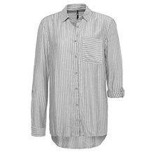 Sublevel Damen Streifen Bluse | Trendige Oversize Damenbluse in Blau & Grau Middle-Grey S