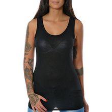 Damen Tank Top Shirt Ärmellos Spitze (weitere Farben) No 12658, Farbe:Schwarz, Größe:One Size