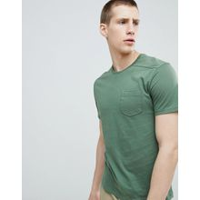 United Colors Of Benetton - T-Shirt in Khaki mit Tasche - Grün