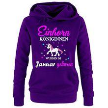 Einhorn Königinnen wurden im Januar geboren ! Damen HOODIE Sweatshirt mit Kapuze LILA, Gr.S