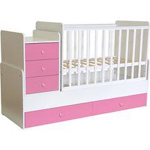 Kombi-Kinderbett Simple 1100 mit Kommode, weiß - rosa, 1227.21 rosa/weiß