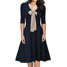 Miusol Damen V-Ausschnitt Schleife Cocktailkleid Faltenrock 50er 60er Jahr Party StretchKleid Blau Gr.S