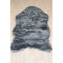 Fell Teppich Schaffell Lammfell Imitat Kunstfell Dekofell MIA bei 30 Grad waschbar aus 100% Polyester (080 x 150 cm Fell, dunkel grau 041)