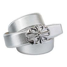 Anthoni Crown Ledergürtel mit Unterführung Ledergürtel silber