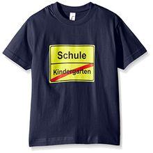 Coole-Fun-T-Shirts Unisex-Kinder T-Shirt Schulanfang, Gr. One Size (Herstellergröße: 128cm), Blau (Navy)