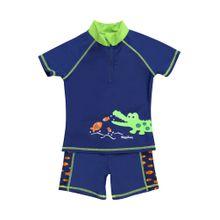 PLAYSHOES Schwimmanzug 'Krokodil' blau / neongrün / orange / weiß