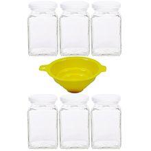 Viva Haushaltswaren - 6 x eckiges Marmeladenglas / Gewürzglas 260 ml mit weißem Schraubverschluss, Gläser Set mit Deckel als Einmachgläser, Vorratsdose etc. verwendbar (inkl. Trichter)