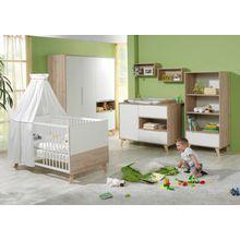 Geuther Komplett Kinderzimmer METTE, 3-tlg. (Kinderbett, Wickelkommode und 3-türiger Kleiderschrank), Buche/weiß