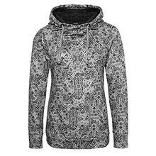 Sublevel Damen Sweathoodie mit Allover-Blumen-Print und weichen Innenfleece | Sportlich-Eleganter Kapuzenpullover light-grey XL