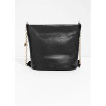 Leather Bucket Bag - Black