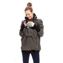 GoFuture Damen Tragejacke für Mama und Baby 4in1 Känguru Jacke Umstandsjacke aus Concordia Shell und Fleece LOVEWINGS GF2070XC in Olive mit marineblauem Innenfutter