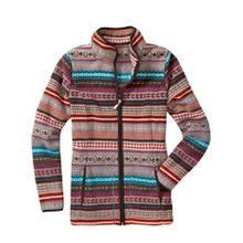 Classic Basics Fleece-Jacke mit braunen Paspeln an allen Kanten