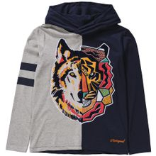 Desigual Langarmshirt dunkelblau / grau / orange / pink