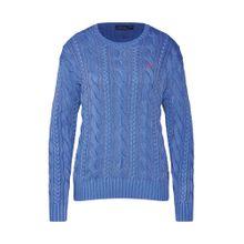 POLO RALPH LAUREN Damen - Pullover & Strickjacken 'LS ELBW PTCH-LONG SLEEVE-SWEATER' blau