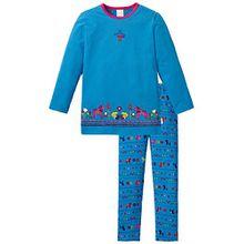 Schiesser Mädchen Zweiteiliger Schlafanzug Md lang, Gr. 92, Blau (blau 800)