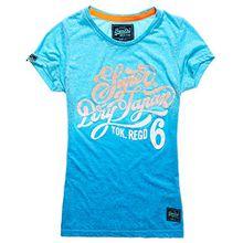 Superdry Damen T-Shirt - Tokyo 6 - Superdry Japan - Printdesign mit Glitterfinish (M, summer sea)