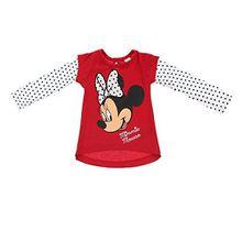 Baby-Mädchen Langarm-Shirt, Baby-Mädchen Minnie Mouse Langarm-Shirt Disney Rundhals Langarm, Rot, in Größe 74/80