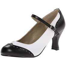 Pleaser Damen Flapper 25 Pumps &Amp; Heels mit Blockabsatz, Black (Blk WHT PU), Gr. 36 EU(3 UK)