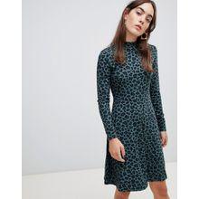 b.Young - Hoch geschlossenes Kleid mit Leopardenmuster - Mehrfarbig