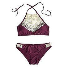 2017 Neu Fashion Damen Bikini-Set Sexy Strand Neckholder Bademode Badeanzug (EU 38/40 (XL), Rot)