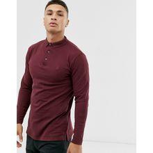 Soul Star - Burgunderrotes Jersey-Polohemd mit durchgehender Knopfleist in normaler Passform - Rot