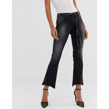 Replay - Jeans in kurzem Schnitt mit hohem Bund, gestuftem Saum und gewebtem Gürtel mit Logo - Blau