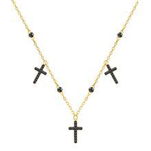Mini Cross Halsband, grau, vergoldet