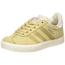 adidas Unisex-Kinder Gazelle Fashion Sneaker, Braun (Linen Khaki/Clear Brown/Chalk White), 34 EU