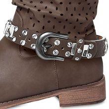 CASPAR Fashion CASPAR Damen Stiefelband/Stiefelschmuck mit Strass und Glitzerstäben - viele Farben - STB011, Farbe:braun